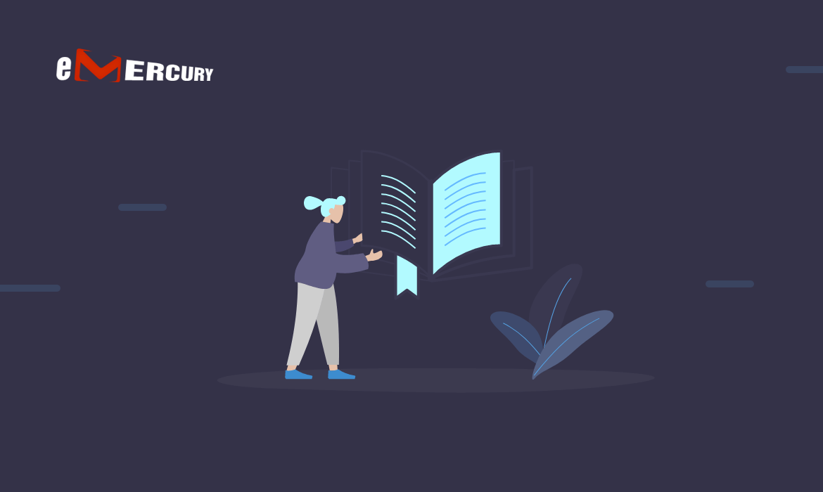 Illustration symbolizing email personalization - a woman holding a book with a clearly bookmarked page