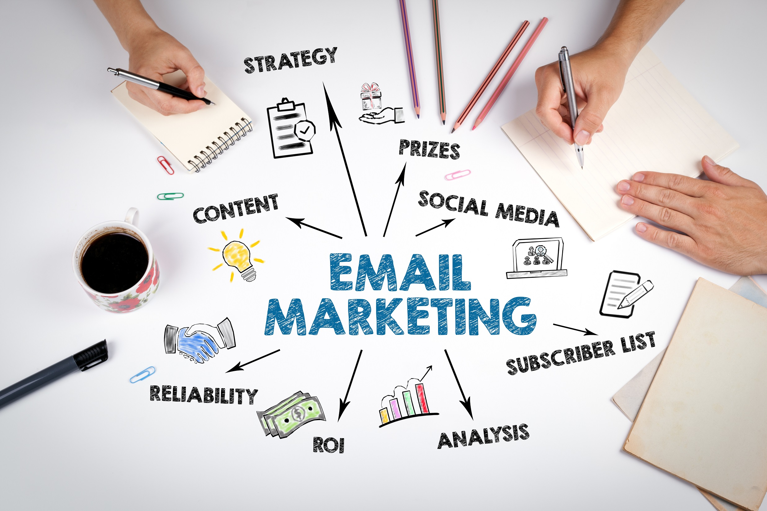 email marketing written on table, linking to different facets of marketing, symbolic representation for how it can boost affiliate income