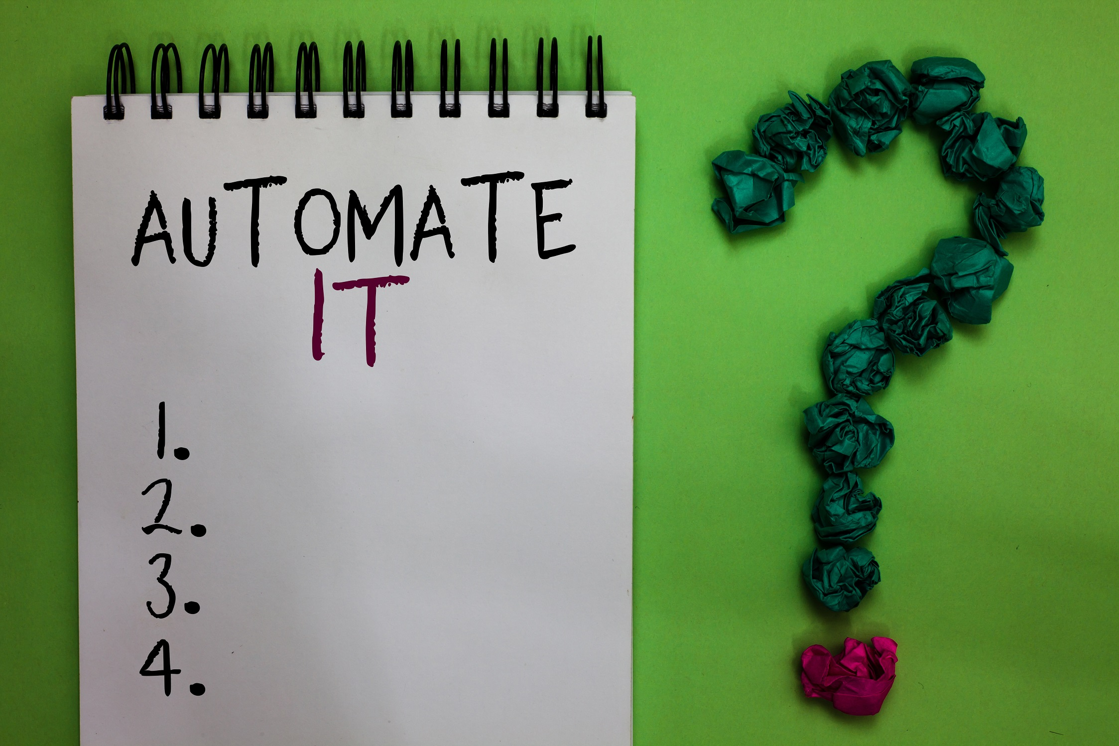 """notepad with heading """"automate it"""" on top, followed by 4 numbered but empty bullet points"""