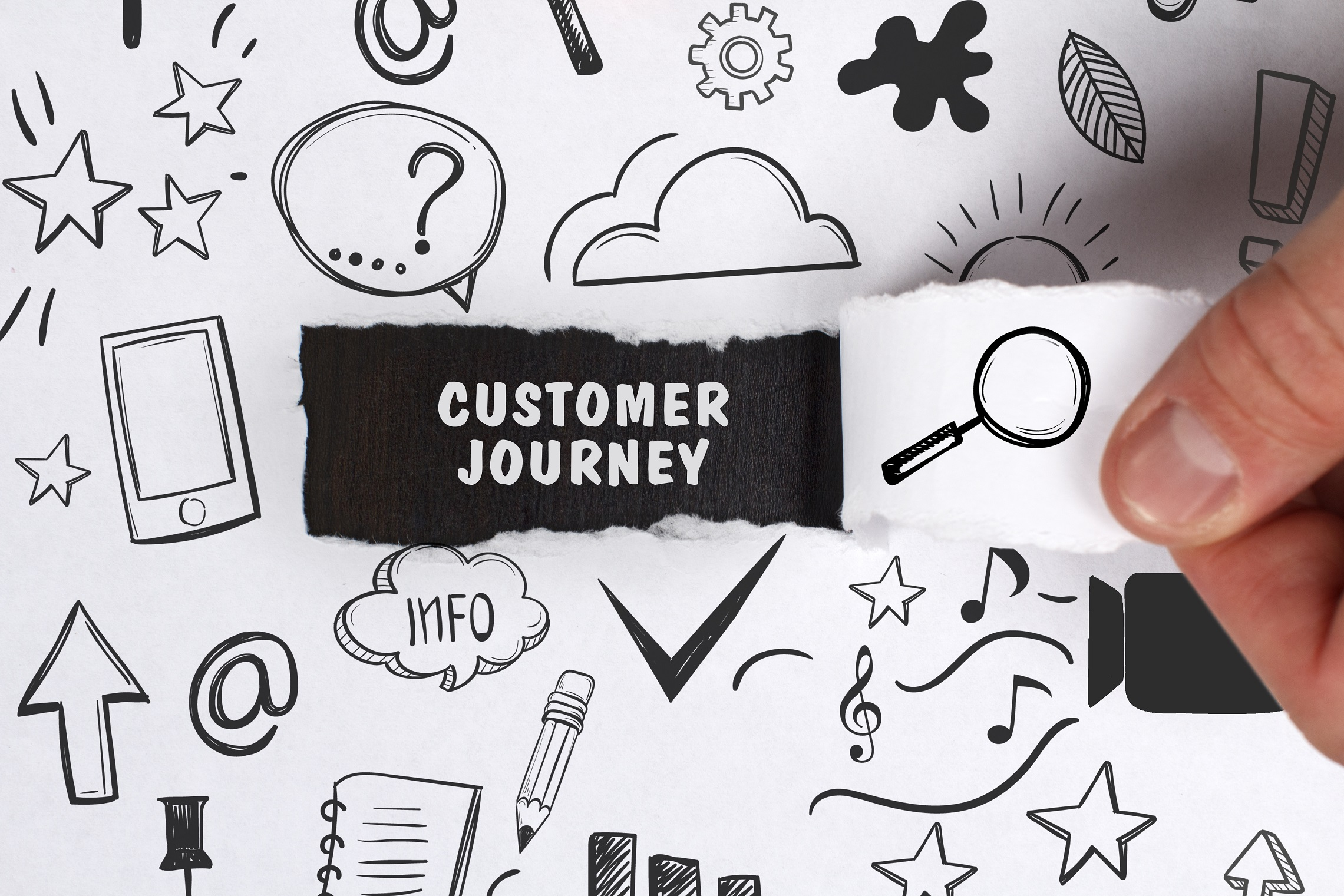"""person tearing part of paper revealing the words """"customer journey"""" underneath"""