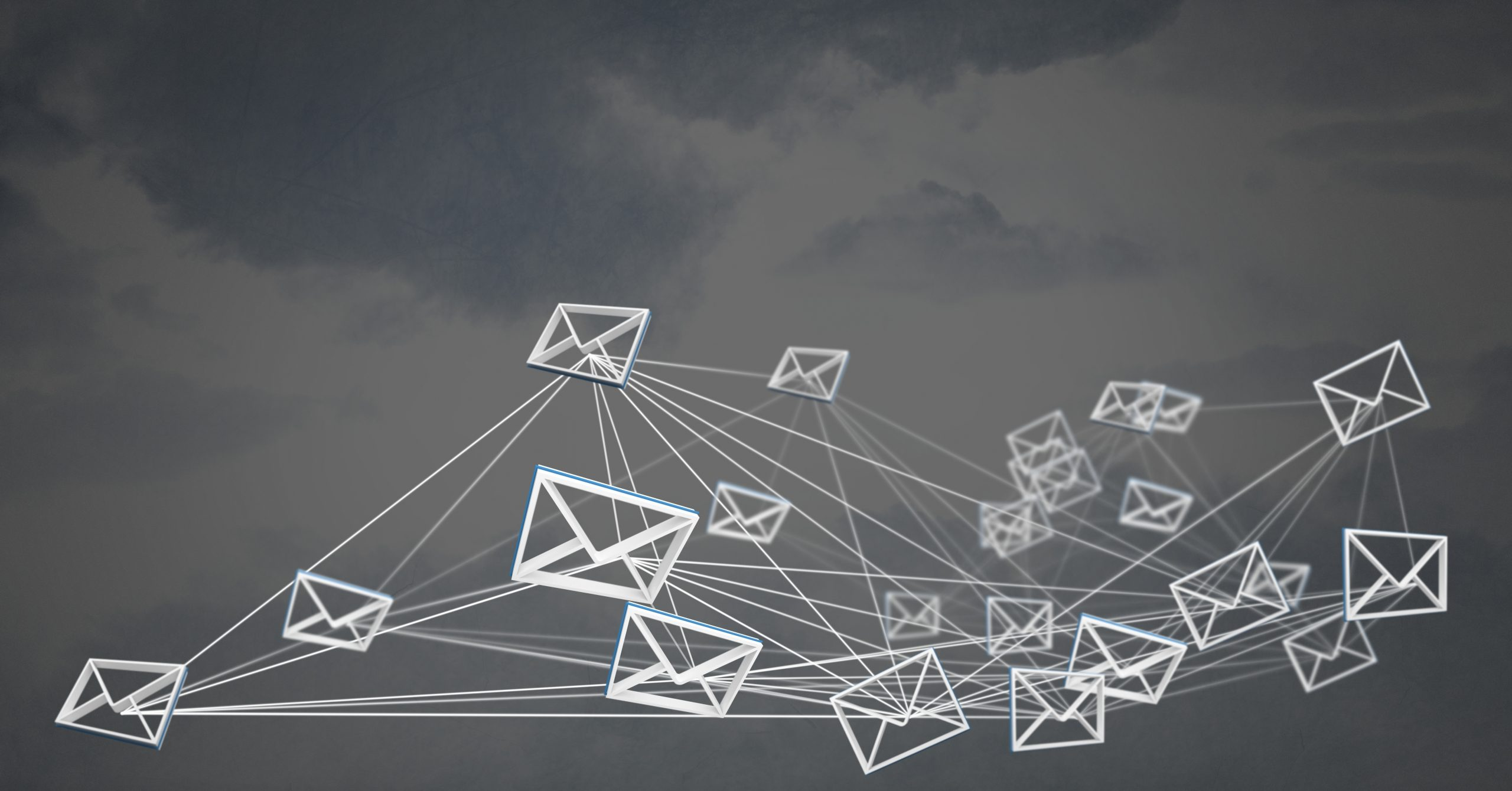 bunch of 3d emails flying through sky, symbollizing affiliate email marketing
